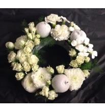 Couronne de l'avent fleurs blanche naturel