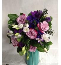 Bouquet rond bleu