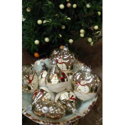 Boule en verre père Noel et bonhomme de neige