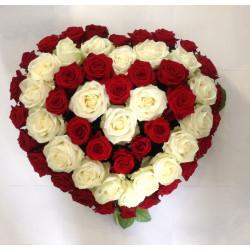 Coeur rose rouge et blanche